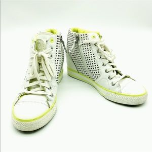 07b89f93410a Dkny Shoes - DKNY Cindy Leather Perforated Wedge Sneakers.